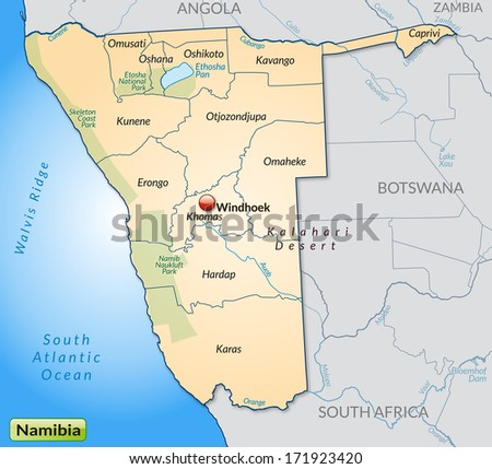 Map of Namibia with borders in pastel orange