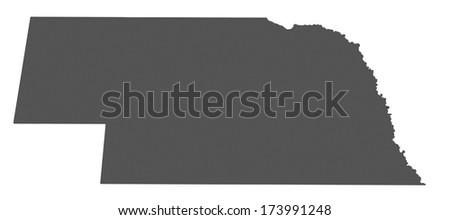 Map of Nebraska - USA - stock photo