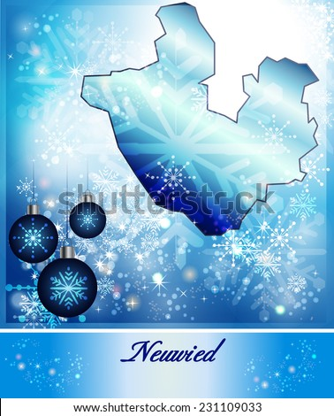 Map of Neuwied in Christmas Design in blue