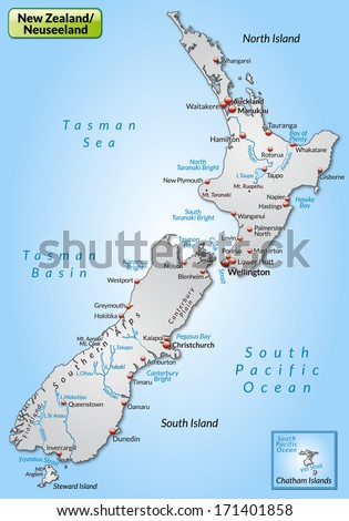 Map of New Zealand as an overview map in gray