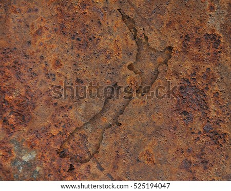 Map of New Zealand on rusty metal
