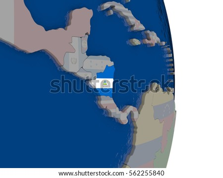 Map of Nicaragua with its flag on globe. 3D illustration