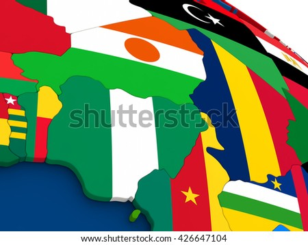 Map of Niger and Nigeria on globe with embedded flags of countries. 3D illustration. - stock photo