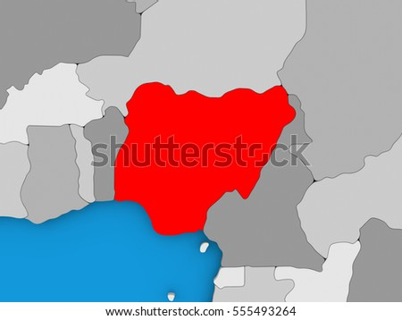 Map of Nigeria on globe highlighted in red. 3D illustration