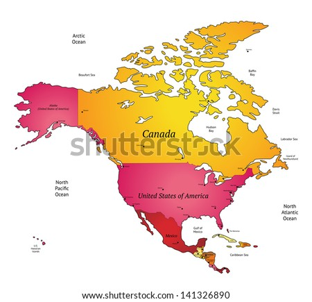 Map of North America. Raster version. Vector version is also available.