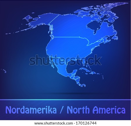 Map of North America with borders as scrible
