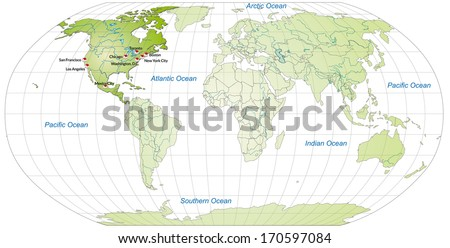 Map of North America with main cities in green - stock photo