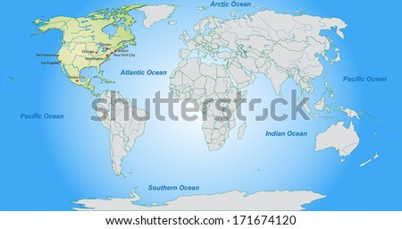 Map of North America with main cities in pastel green - stock photo