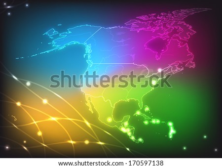 Map of North America with main cities with bright colors