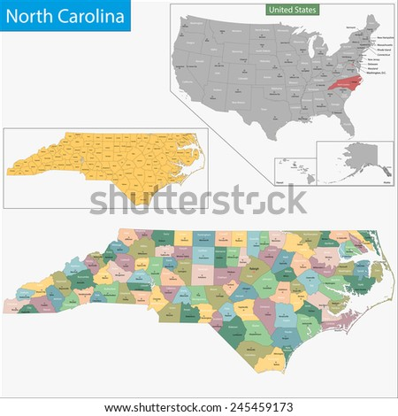 Map of North Carolina state designed in illustration with the counties and the county seats