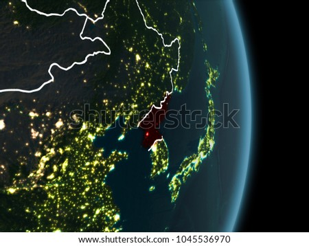 Map north korea red seen space stock illustration 1045536970 map of north korea in red as seen from space on planet earth at night with gumiabroncs Choice Image