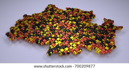 Map of North Rhine Westphalia - 3d mosaic of little boxes