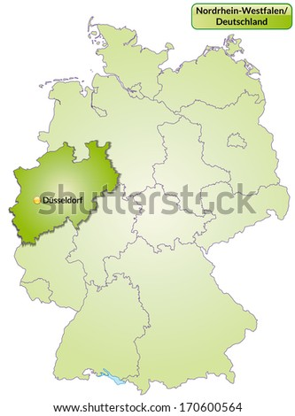 Map of North Rhine-Westphalia with main cities in green