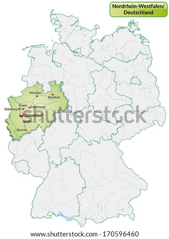 Map of North Rhine-Westphalia with main cities in pastel green