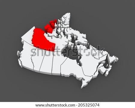 Map of Northwest Territories. Canada. 3d - stock photo