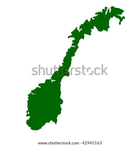 Map of Norway isolated on white background.