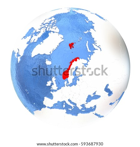 Map Norway On Metallic Globe D Stock Illustration - Norway map on globe