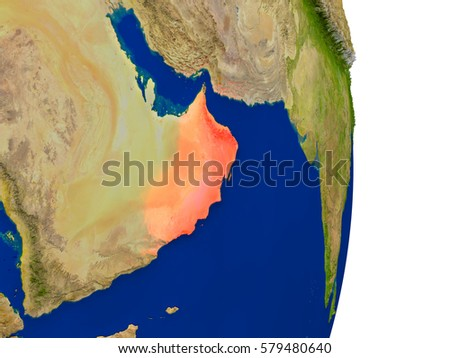 Map of Oman in red on planet Earth. 3D illustration with detailed planet surface. Elements of this image furnished by NASA.