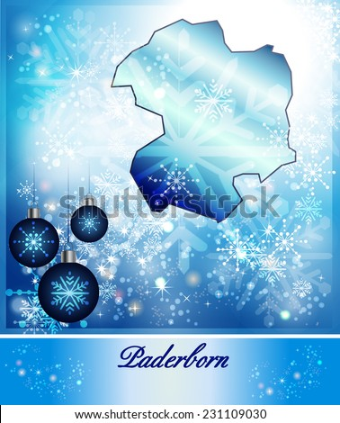 Map of Paderborn in Christmas Design in blue
