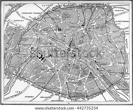 Map of Paris, France. Vintage engraving.