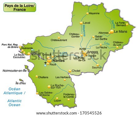 Map Pays De La Loire Overview Stock Illustration 170545526