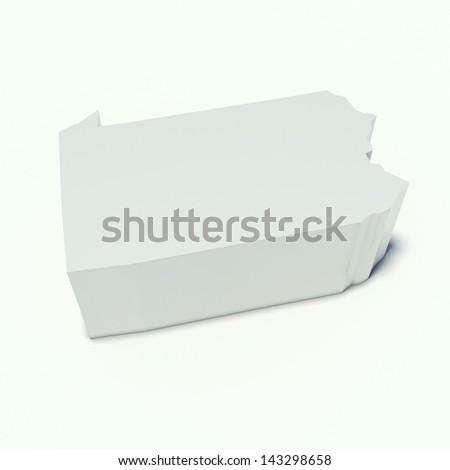 map of pennsylvania in perspective and white - stock photo