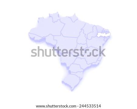 Map of Pernambuco. Brazil. 3d - stock photo