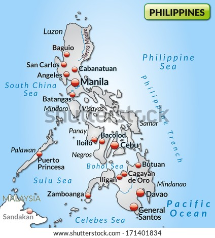 Map Philippines Overview Map Gray Stock Illustration - Map of philippines