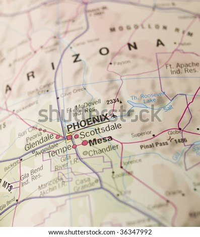 Map of Phoenix in Arizona - stock photo