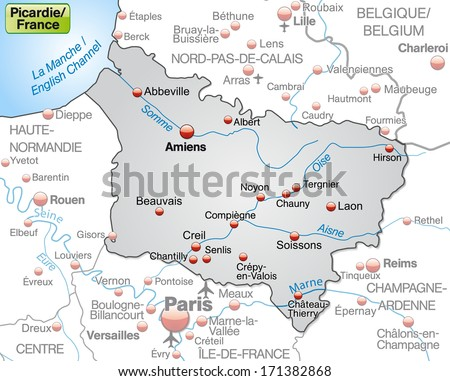 Map of picardie as an overview map in gray