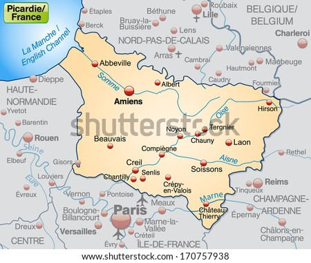 Map of picardie as an overview map in pastel orange