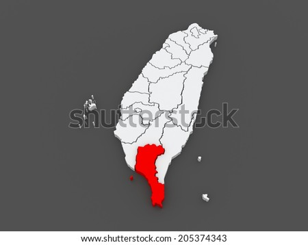 Map of Pingtung County. Taiwan. 3d