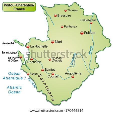Map of Poitou-Charentes as an overview map in pastel green