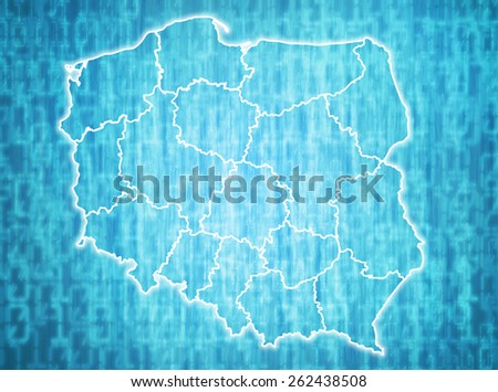 map of poland with administrative divisions over digital background - stock photo