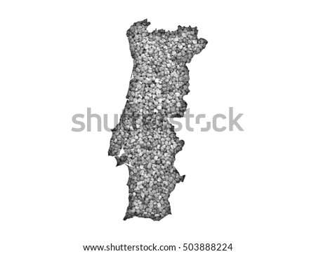 Map of Portugal on poppy seeds