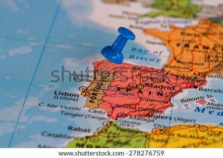 Map Portugal Blue Pushpin Stuck Stock Photo 278276759 Shutterstock