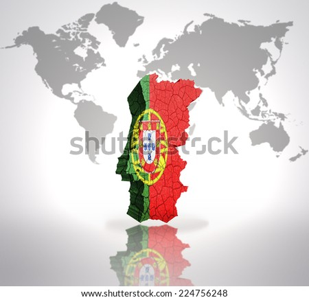 Map of Portugal with Portuguese Flag on a world map background