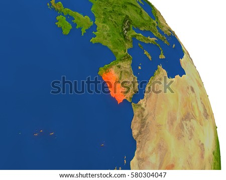 Map of Portugal with surrounding region on planet Earth. 3D illustration with highly detailed planet surface. Elements of this image furnished by NASA.