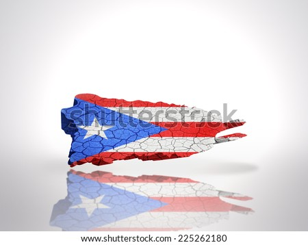 Map of Puerto Rico with Puerto Rican Flag on a white background - stock photo