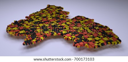 Map of Rhineland Palatinate - 3d mosaic of little boxes