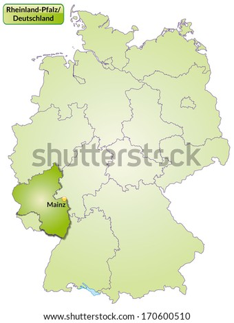 Map of Rhineland-Palatinate with main cities in green