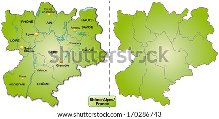 Map of Rhone Alps with borders in green