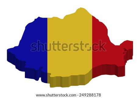 Map of Romania with national flag decor   - stock photo