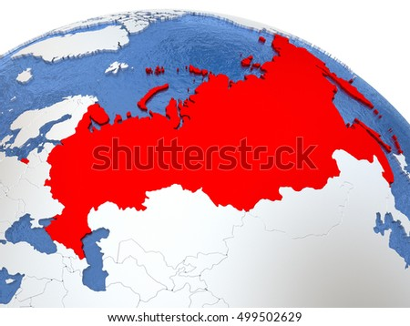 Map russia on globe metallic land stock illustration 499502629 map of russia on globe with metallic land and realistic water 3d illustration gumiabroncs Images