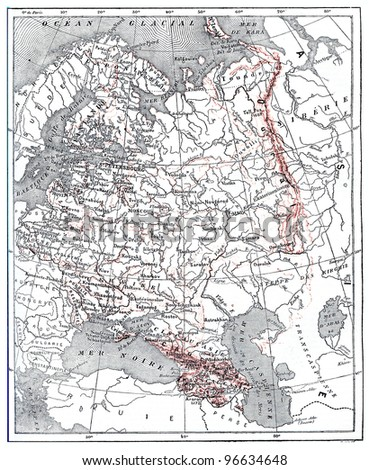 """Map of Russia, vintage engraved illustration. From """"The Dictionary of Words and Things"""" - Published by Larive and Fleury in 1895. - stock photo"""