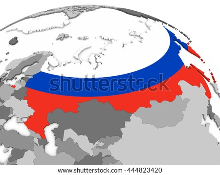 Map of Russia with embedded national flag. 3D illustration