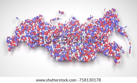 Map of Russian Federation - Eurasia | 3d mosaic of little bricks - Flag colors