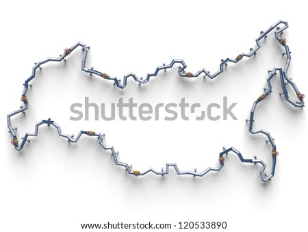 Map of Russian oil pipes - stock photo