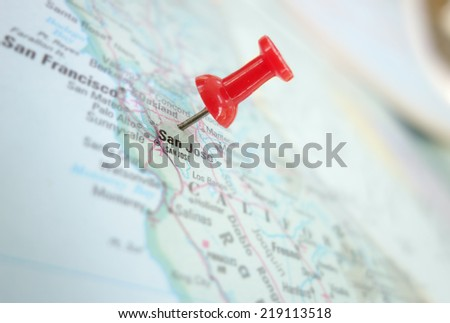 Map of San Jose, Silicon Valley area of California, with red push pin                                - stock photo