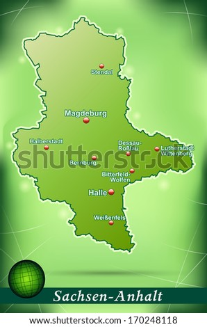 Map of Saxony-Anhalt with abstract background in green